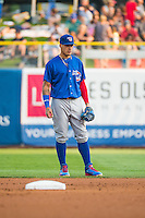 Javier Baez (9) of the Iowa Cubs on defense at second base against the Salt Lake Bees in Pacific Coast League action at Smith's Ballpark on August 21, 2015 in Salt Lake City, Utah.  (Stephen Smith/Four Seam Images)