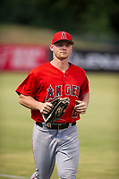 AZL Angels left fielder Jacob Pearson (2) jogs off the field between innings of the game against the AZL White Sox on August 14, 2017 at Diablo Stadium in Tempe, Arizona. AZL Angels defeated the AZL White Sox 3-2. (Zachary Lucy/Four Seam Images)