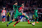 Vedran Corluka (L) of FC Lokomotiv Moscow fights for the ball with Saul Niguez Esclapez of Atletico de Madrid during the UEFA Europa League 2017-18 Round of 16 (1st leg) match between Atletico de Madrid and FC Lokomotiv Moscow at Wanda Metropolitano  on March 08 2018 in Madrid, Spain. Photo by Diego Souto / Power Sport Images