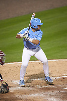 Tomas Frick (52) of the North Carolina Tar Heels at bat against the South Carolina Gamecocks at Truist Field on April 6, 2021 in Charlotte, North Carolina. (Brian Westerholt/Four Seam Images)