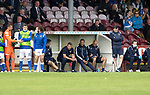 Arbroath v St Johnstone…15.08.21  Gayfield Park      Premier Sports Cup<br />Saints boss Callum Davidson watches the penalty shootout from the dugout<br />Picture by Graeme Hart.<br />Copyright Perthshire Picture Agency<br />Tel: 01738 623350  Mobile: 07990 594431