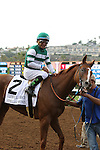"""DEL MAR, CA  JULY 30: #2 Stellar Wind with Victor Espinoza after winning the Clement L. Hirsch Stakes (Gl) """"Win and You're in Breeders' Cup Distaff Division"""" at Del Mar Turf Club in Del Mar, CA on July 30, 2016. (Photo by Casey Phillips/Eclipse Sportswire/Getty Images)DEL MAR, CA  JULY 30: #2 Stellar Wind with Victor Espinoza beat Beholder and Gary Stevens in the Clement L. Hirsch Stakes (Gl) """"Win and You're in Breeders' Cup Distaff Division"""" at Del Mar Turf Club in Del Mar, CA on July 30, 2016. (Photo by Casey Phillips/Eclipse Sportswire/Getty Images)"""