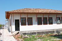 The new vinery building in traditional Berat Ottoman style. Cobo winery, Poshnje, Berat. Albania, Balkan, Europe.