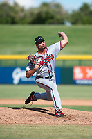 Peoria Javelinas relief pitcher Kyle Muller (22), of the Atlanta Braves organization, delivers a pitch during an Arizona Fall League game against the Mesa Solar Sox at Sloan Park on October 24, 2018 in Mesa, Arizona. Mesa defeated Peoria 4-3. (Zachary Lucy/Four Seam Images)