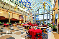 Staging for the Jingle Bell Ball in the Wells Fargo Atrium in Uptown Charlotte, NC...Photo by: PatrickSchneiderPhoto.com