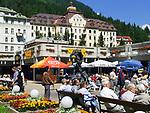 Oesterreich, Salzburger Land, Gasteiner Tal, Bad Gastein: Ortszentrum mit dem Gran Hotel de l'Europe | Austria, Salzburger Land, Gasteiner Valley, Bad Gastein: centre with Grand Hotel de l'Europe