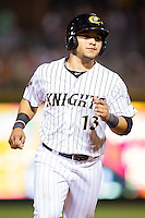 Carlos Sanchez (13) of the Charlotte Knights hustles towards third base against the Lehigh Valley IronPigs at BB&T Ballpark on May 8, 2014 in Charlotte, North Carolina.  The IronPigs defeated the Knights 8-6.  (Brian Westerholt/Four Seam Images)
