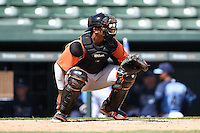 Baltimore Orioles catcher Jean Carrillo (16) during an Instructional League game against the Tampa Bay Rays on September 15, 2014 at Ed Smith Stadium in Sarasota, Florida.  (Mike Janes/Four Seam Images)