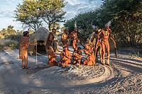 Africa, Botswana, Khwai, The Lodge, Feline Fields, edge of the Kalahari desert. Kalahari bush people, Ju'hoansi tribe. Hunter-gatherer !Kung people, part of San tribe. The evening trance dance where the shaman perform healing rituals.