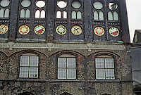Lubeck: East wall of Rathaus with blind arcading. 15th century. Photo '87.