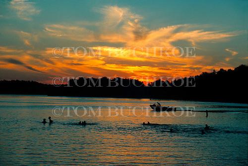 Lake Michigamme  at sunset, in Michigan's Upper Peninsula.