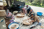 Local women making flat bread during Stage 2 of the 2015 Presidential Tour of Turkey running 182km from Alanya to Antalya. 27th April 2015.<br /> Photo: Tour of Turkey/Steve Thomas/www.newsfile.ie