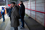 Witton Albion 1 Warrington Town 2, 26/12/2017. Wincham Park, Northern Premier League. Home supporters watching the action at Wincham Park, home of Witton Albion during their Northern Premier League premier division fixture with Warrington Town. Formed in 1887, the home team have played at their current ground since 1989 having relocated from the Central Ground in Northwich. With both team chasing play-off spots, the visitors emerged with a 2-1 victory, the winner being scored by Tony Gray in second half injury time, watched by a crowd of 503. Photo by Colin McPherson.