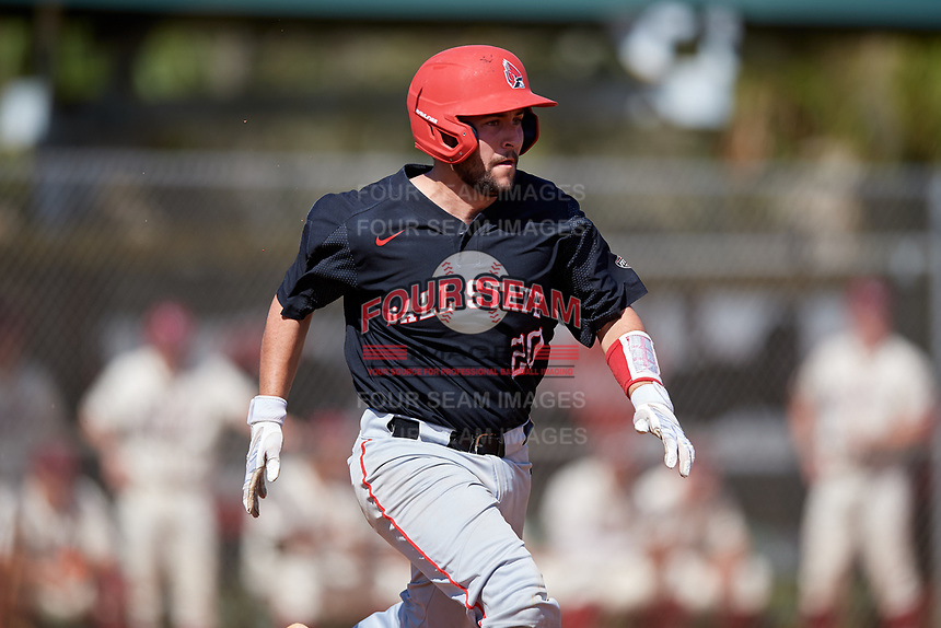 Ball State Cardinals catcher Chase Sebby (20) runs to first base during a game against the Saint Joseph's Hawks on March 9, 2019 at North Charlotte Regional Park in Port Charlotte, Florida.  Ball State defeated Saint Joseph's 7-5.  (Mike Janes/Four Seam Images)