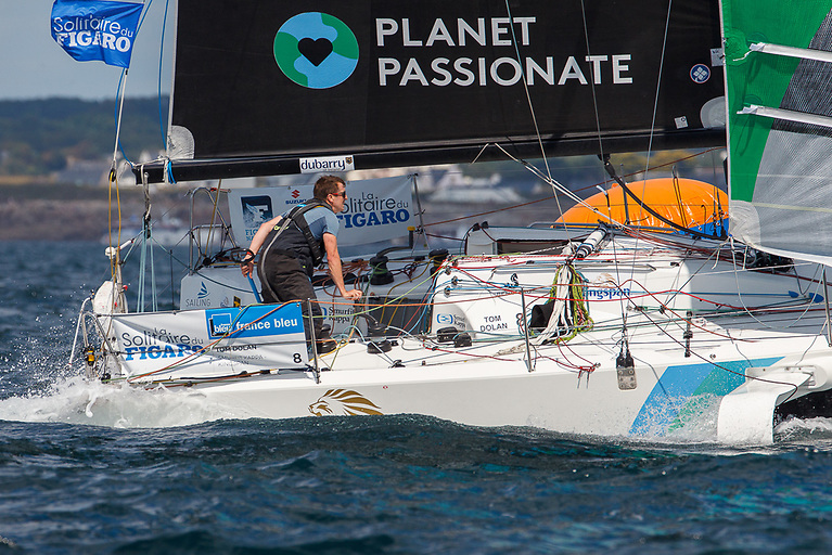 At the exit from a challenging four-leg round the buoys sprint stage, leaving Lorient, Tom Dolan on Smurfit Kappa-Kinsgpan (above) was in 24th place over one mile behind the early leader, French ace Tom Laperche
