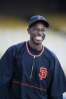 Kenny Lofton of the San Francisco Giants before a 2002 MLB season game against the Los Angeles Dodgers at Dodger Stadium, in Los Angeles, California. (Larry Goren/Four Seam Images)