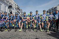 at the race start Team Wanty-Groupe Gobert is lined up in front of the peloton to commemorate late teammate Antoine Demoitié who died in a crash in this race the year before<br /> <br /> #RideForAntoine<br /> <br /> 79th Gent-Wevelgem 2017 (1.UWT)<br /> 1day race: Deinze › Wevelgem - BEL (249km)