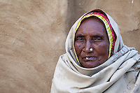 Bharatpur, Rajasthan, India.  Old Rajasthani Woman Wrapped in her Headscarf.