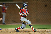 Evan Pietronico (4) of the NJIT Highlanders follows through on his swing against the High Point Panthers during game two of a double-header at Williard Stadium on February 18, 2017 in High Point, North Carolina.  The Highlanders defeated the Panthers 4-2.  (Brian Westerholt/Four Seam Images)