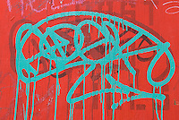 AVAILABLE FROM JEFF AS A FINE ART PRINT.<br /> <br /> AVAILABLE FROM JEFF FOR COMMERCIAL AND EDITORIAL LICENSING.<br /> <br /> Graffiti Spray Painted on a Wall at a Construction Site in the East Village, Lower Manhattan, New York City, New York State, USA