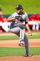 Billings Mustangs starting pitcher Ismael Guillon (57) in action against the Orem Owlz at Brent Brown Ballpark on July 22, 2012 in Orem, Utah.  The Mustangs defeated the Owlz 13-8.  (Brian Westerholt/Four Seam Images)