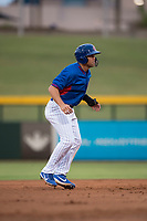 AZL Cubs 2 third baseman Grant Fennell (19) takes a lead off second base during an Arizona League game against the AZL Rangers at Sloan Park on July 7, 2018 in Mesa, Arizona. AZL Rangers defeated AZL Cubs 2 11-2. (Zachary Lucy/Four Seam Images)
