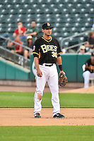 Roberto Lopez (30) of the Salt Lake Bees on defense against the Albuquerque Isotopes at Smith's Ballpark on May 21, 2014 in Salt Lake City, Utah.  (Stephen Smith/Four Seam Images)