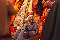 Africa,Morocco,Marrakech, old man in the suk