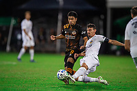 LAKE BUENA VISTA, FL - JULY 23: Memo Rodriguez #8 of the Houston Dynamo battles for the ball during a game between Los Angeles Galaxy and Houston Dynamo at ESPN Wide World of Sports on July 23, 2020 in Lake Buena Vista, Florida.