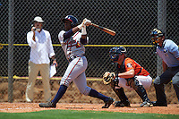 GCL Braves outfielder Ronald Acuna (24) at bat in front of catcher Jake Bowey and umpire Michael Boulianne during a game against the GCL Astros on July 23, 2015 at the Osceola County Stadium Complex in Kissimmee, Florida.  GCL Braves defeated GCL Astros 4-2.  (Mike Janes/Four Seam Images)