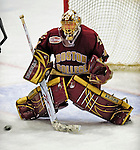 10 January 2009: Boston College Eagles' goaltender John Muse, a Sophomore from East Falmouth, MA, makes a third period save during the second game of a weekend series against the University of Vermont Catamounts at Gutterson Fieldhouse in Burlington, Vermont. The Catamounts rallied from an early 2-0 deficit to defeat the visiting Eagles 4-2. Mandatory Photo Credit: Ed Wolfstein Photo