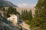 Salt Springs dam and PG&E power house and water storage on the Mokelumne River, Amador Co., Calif.