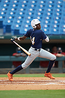 Michael Braswell (14) of Campbell HS in Mableton, GA playing for the Milwaukee Brewers scout team during the East Coast Pro Showcase at the Hoover Met Complex on August 2, 2020 in Hoover, AL. (Brian Westerholt/Four Seam Images)
