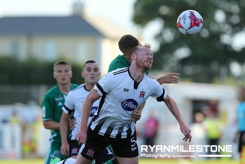 Jevgeni Harin of Levadia Tallinn in action against Chris Shields of Dundalk during the UEFA Europa League First Qualifying Round Second Leg between Dundalk FC and Levadia Tallinn on Thursday 19th July 2018 at Oriel Park, Dundalk, Co Louth. Photo By Michael P Ryan
