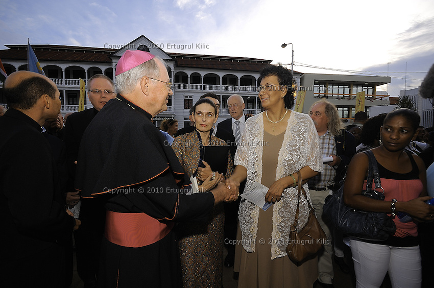 Left to Right : Bishop of Paramaribo Monseigneur Wilhelmus Adrianus Josephus Maria de Bekker -   Jennifer Geerlings-Simons, Chairwoman of De Nationale Assemblée (DNA) / The National Assemble of Suriname....Official Opening Ceremony of ST. Petrus and Paulus Cathedral (AKA World's largest wooden cathedral)