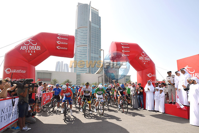 The jersey holders lined up for the ceremonial start of Stage 3 of the 2018 Abu Dhabi Tour, Nation Towers Stage running 133km from Nation Towers to Big Flag, Abu Dhabi, United Arab Emirates. 23rd February 2018.<br /> Picture: LaPresse/Massimo Paolone   Cyclefile<br /> <br /> <br /> All photos usage must carry mandatory copyright credit (© Cyclefile   LaPresse/Massimo Paolone)