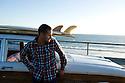 Jock Bahen in his Falcon Squire in Cottesloe, Western Australia.
