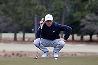 PINEHURST, NC - MARCH 02: Ryan Gerard of the University of North Carolina lines up a putt on the 17th hole at Pinehurst No. 2 on March 02, 2021 in Pinehurst, North Carolina.