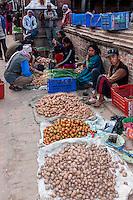 Bhaktapur, Nepal.  Streetside Vegetable Vendors.