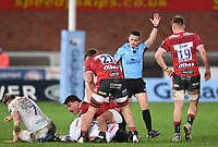 26th March 2021; Kingsholm Stadium, Gloucester, Gloucestershire, England; English Premiership Rugby, Gloucester versus Exeter Chiefs; Santiago Socino of Gloucester wins a penalty from Referee Luke Pearce as Elvis Taione of Exeter Chiefs is penalised for holding on