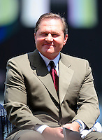 21 August 2009: MLB Agent Scott Boras answers questions by the media after the introduction of his client  Stephen Stausberg to the media during a televised event at Nationals Park in Washington, DC. The Nationals agreed to terms with Strasburg, the 2009 number one overall pick in this years' MLB Draft, with fewer than two minutes before the signing deadline. Mandatory Credit: Ed Wolfstein Photo