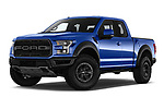 Stock pictures of low aggressive front three quarter view of a 2018 Ford F-150 Raptor Select Doors Door Pick Up