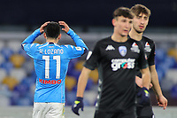 Hirving Lozano of SSC Napoli dejection during the Italy Cup football match between SSC Napoli and Empoli FC at stadio Diego Armando Maradona in Napoli (Italy), January 13, 2021. <br /> Photo Cesare Purini / Insidefoto