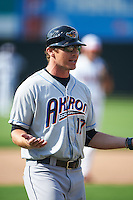 Akron RubberDucks manager Dave Wallace (17) asks why he was thrown out of the game by home plate umpire Ryan Benson (not shown) during the second game of a doubleheader against the Bowie Baysox on June 5, 2016 at Prince George's Stadium in Bowie, Maryland.  Bowie defeated Akron 12-7.  (Mike Janes/Four Seam Images)
