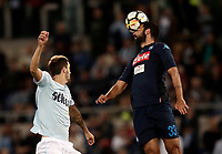 Calcio, Serie A: Roma, stadio Olimpico, 20 settembre 2017.<br /> Napoli's Raul Albiol (r) in action with Lazio's Luis Alberto Romero (l) during the Italian Serie A football match between Lazio and Napoli at Rome's Olympic stadium, September 20, 2017.<br /> UPDATE IMAGES PRESS/Isabella Bonotto