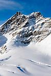 CHE, Schweiz, Kanton Bern, Berner Oberland, Blick vom Jungfraujoch ueber den Grossen Aletschgletscher auf die Jungfrau 4.158 m   CHE, Switzerland, Bern Canton, Bernese Oberland, Grindelwald: view from Jungfraujoch across Great Aletsch Glacier at Jungfrau mountain 13.642 ft.