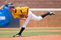 Starting pitcher Blake Hauser #31 of the VCU Rams follows through on his delivery against the St. John's Red Storm at the Charlottesville Regional of the 2010 College World Series at Davenport Field on June 5, 2010, in Charlottesville, Virginia.  The Red Storm defeated the Rams 8-6.  Photo by Brian Westerholt / Four Seam Images