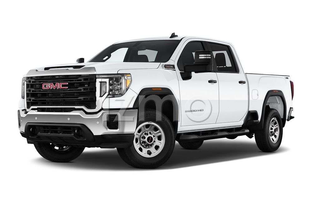 Stock pictures of low aggressive front three quarter view of 2020 GMC Sierra-2500HD - 4 Door Pick-up Low Aggressive
