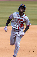 Quad Cities River Bandits outfielder Daz Cameron (16) races to third during a Midwest League game against the Wisconsin Timber Rattlers on April 9, 2017 at Fox Cities Stadium in Appleton, Wisconsin.  Quad Cities defeated Wisconsin 17-11. (Brad Krause/Four Seam Images)
