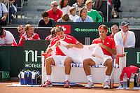 15-09-12, Netherlands, Amsterdam, Tennis, Daviscup Netherlands-Suisse, Doubles,   Roger Federer/Stanislas Wawrinka(l)